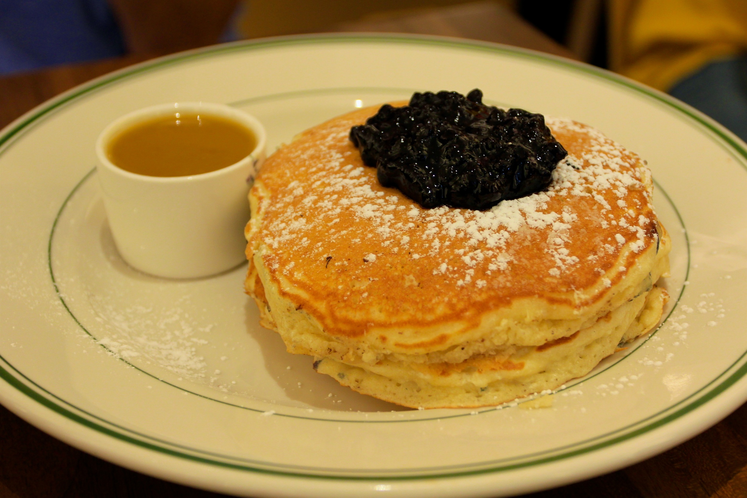 Wild Blueberries Pancakes served with a side of Maple Butter (excuse the poor white balance here)