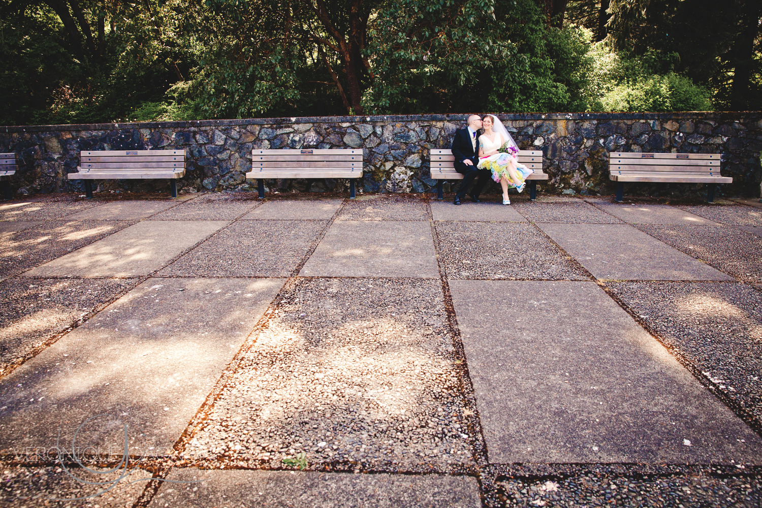 A kiss on the bench.