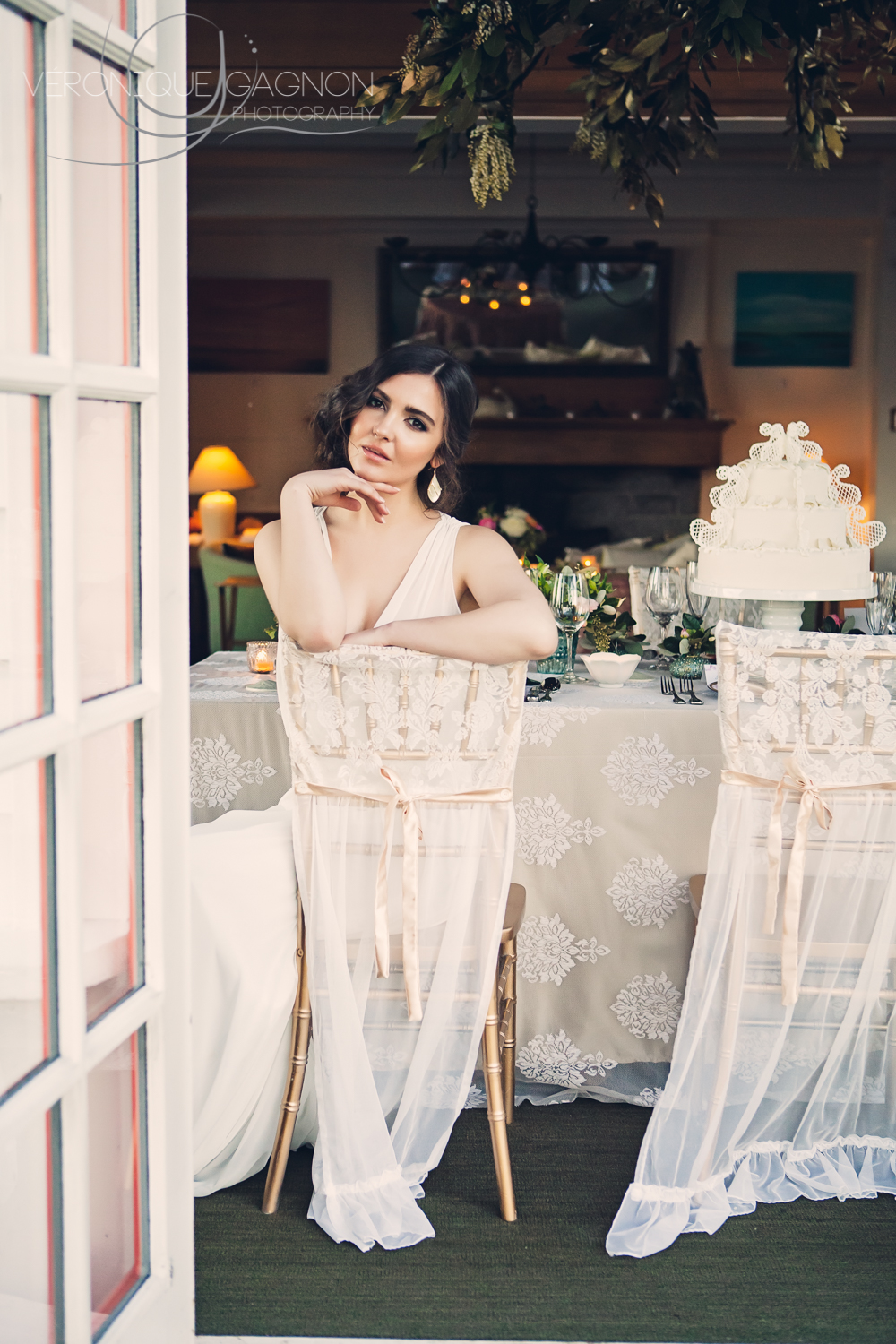 Sheer and chic all white wedding.