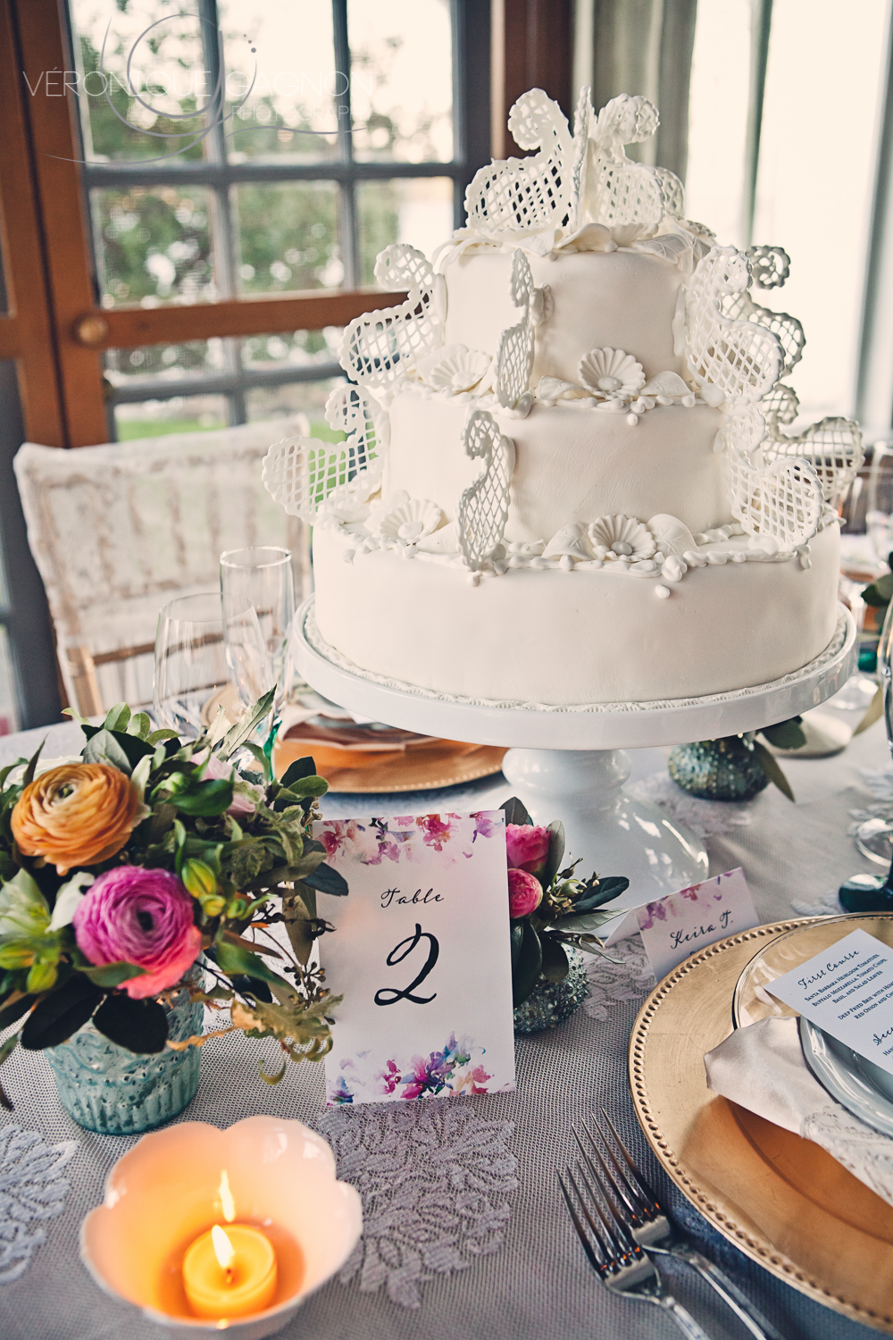 Wedding cake by the Sooke Harbour House's pastry chef.