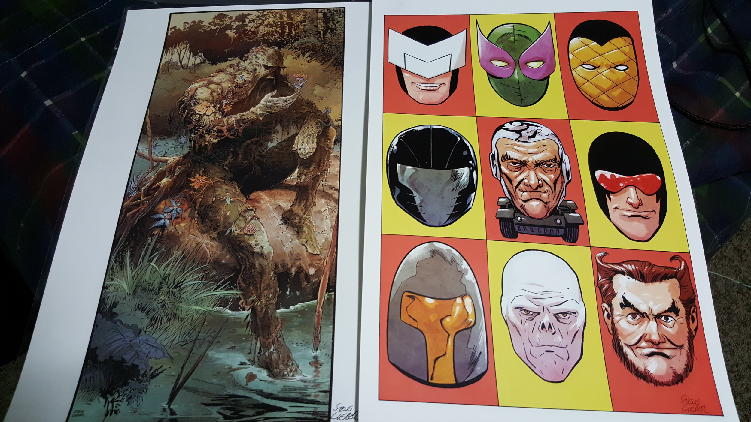 Steve Lieber's prints of Swamp Thing and Superior Foes of Spider-Man