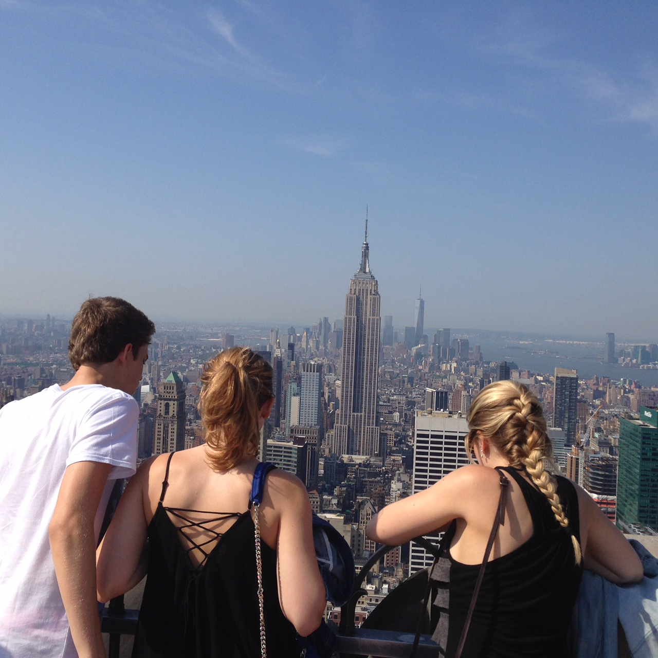 My sisters and I looking down onto New York From the top of the Rockefeller Centre