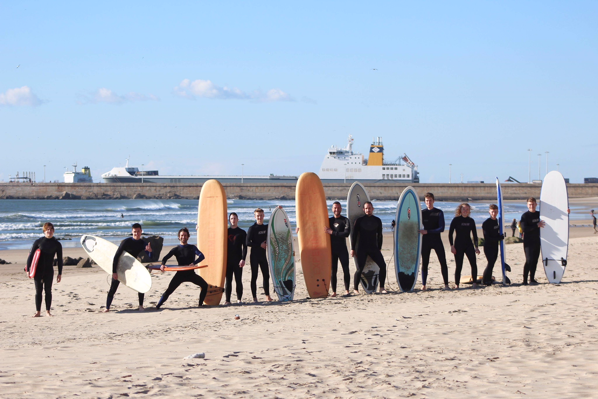 Keen Architecture students and Tutors ready for a surf in the cool February waters of Porto