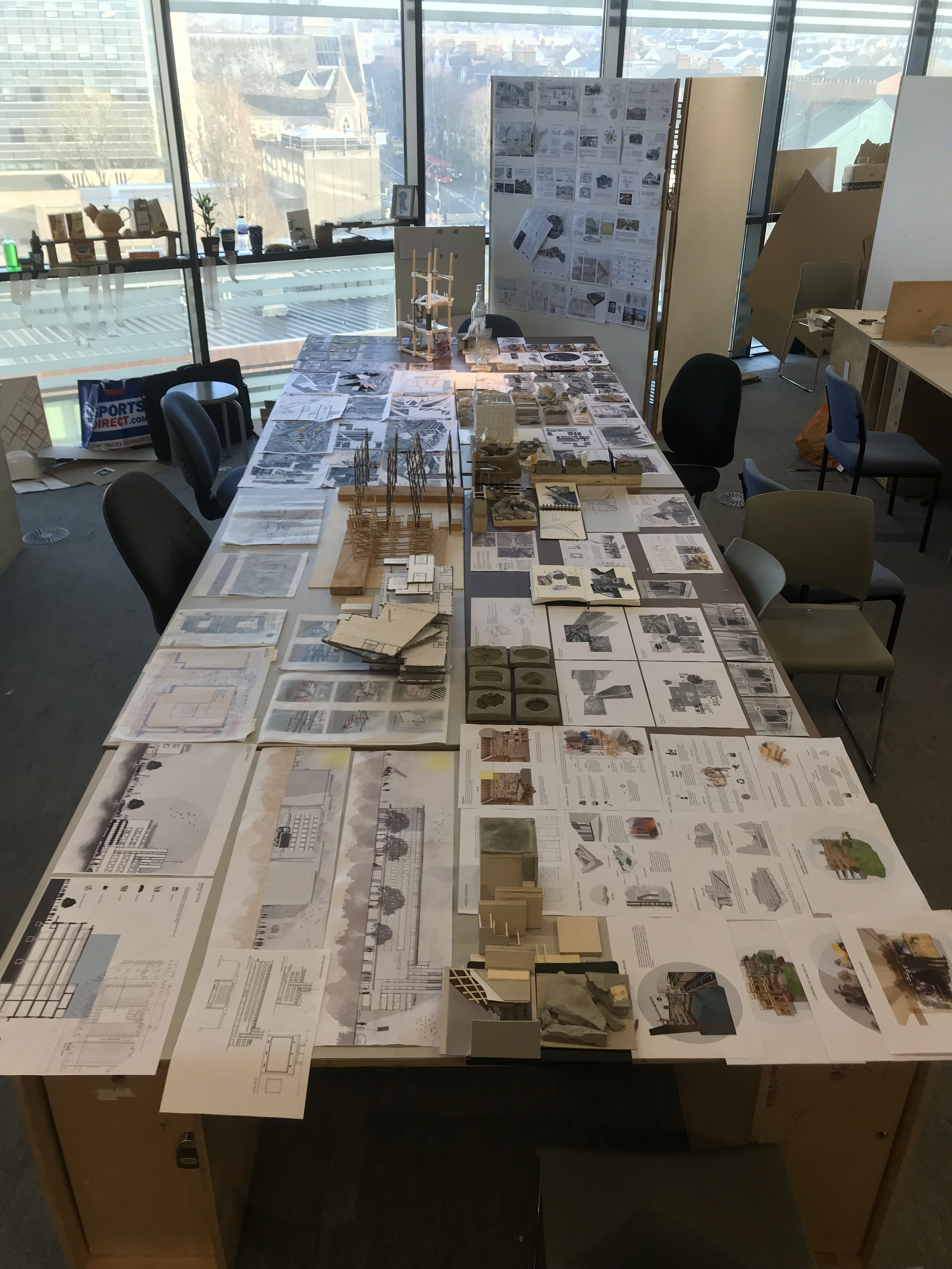 Our groupwork laid out in the studio for Interim Review 1