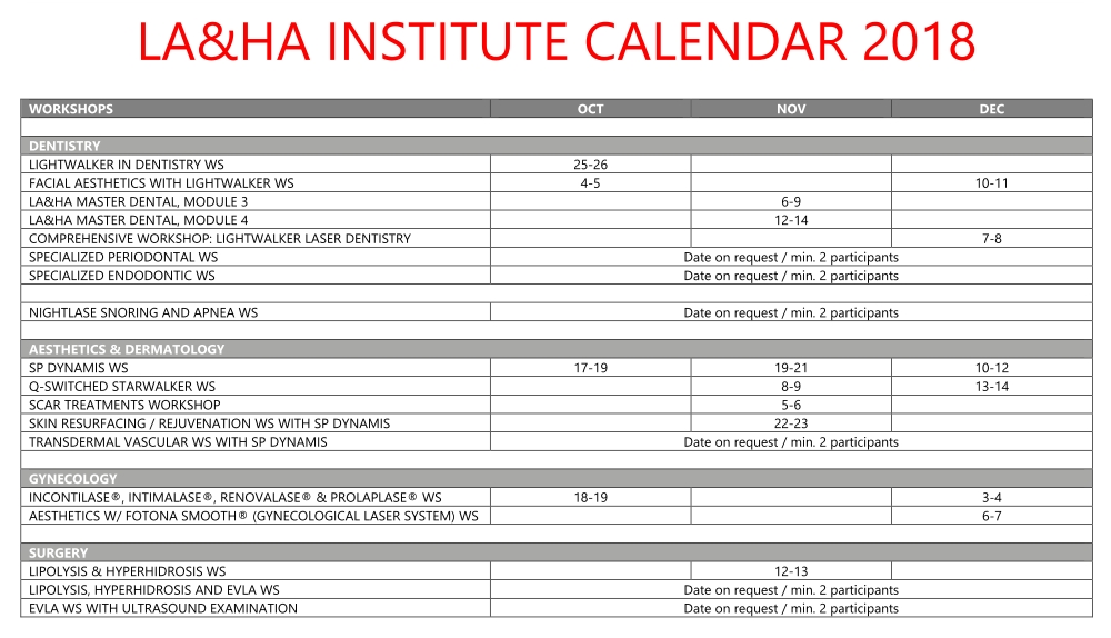 Fotona Training & Workshop Calendar 2018 -