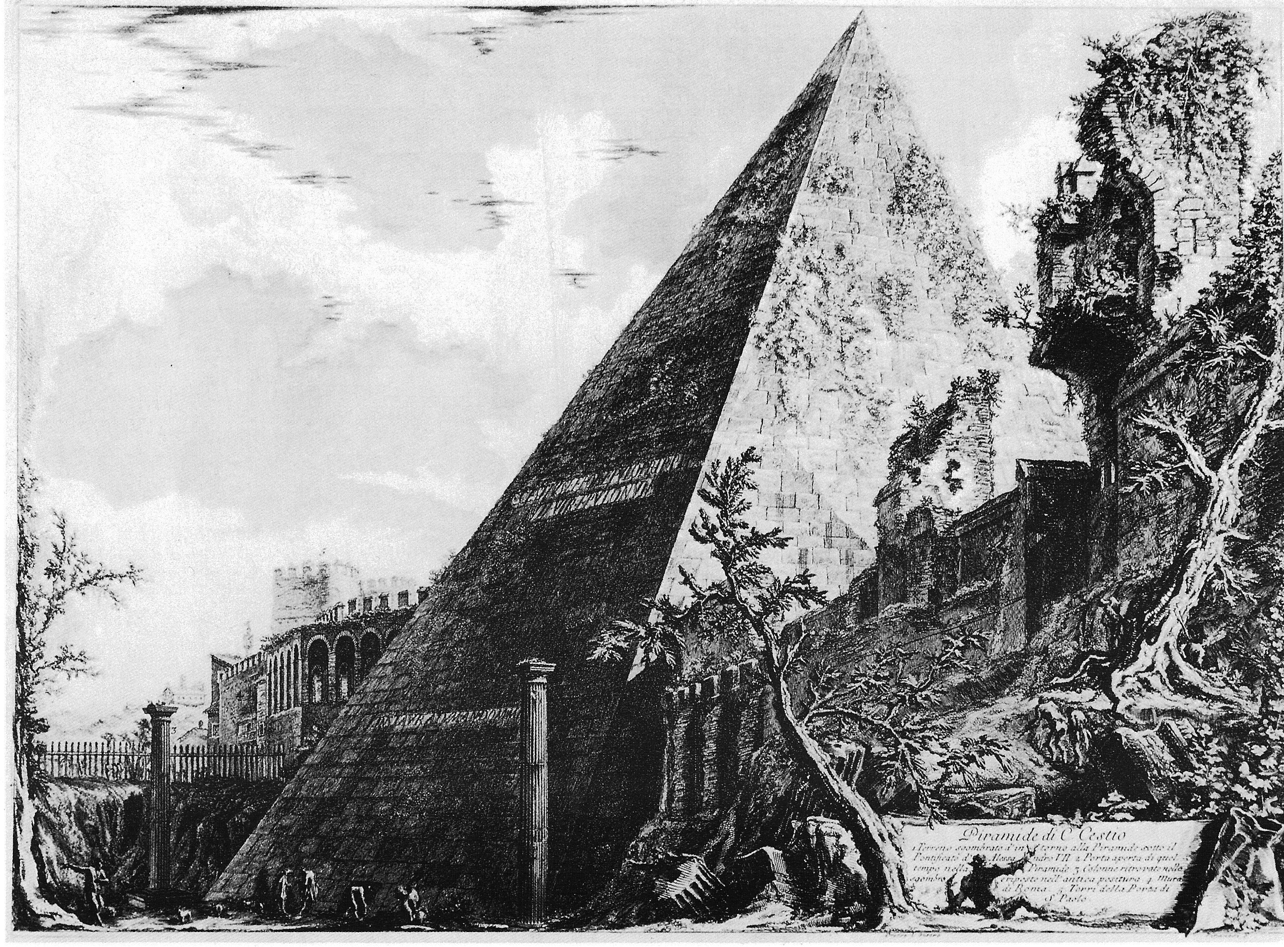 The pyramid was built about 18 BCE–12 BCE as a   tomb   for magistrate Gaius Cestius, etching by Giovanni Battista Piranesi (18th century)