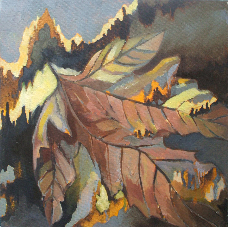 AUTUMN LEAVES Oil on canvas, 35cm x 35cm