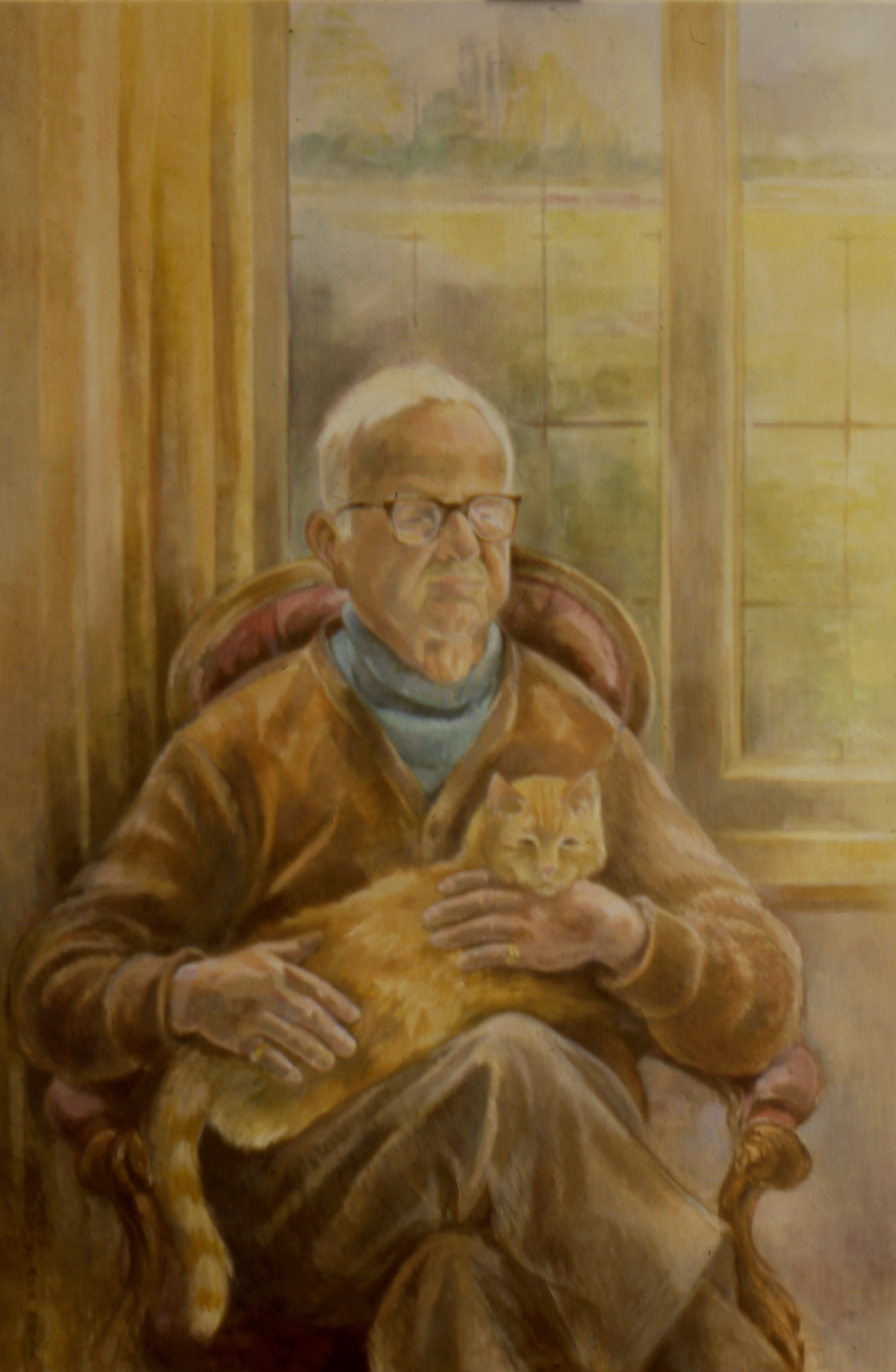 MR POLLITZER WITH HIS CAT Oil on canvas, 80cm x 130cm