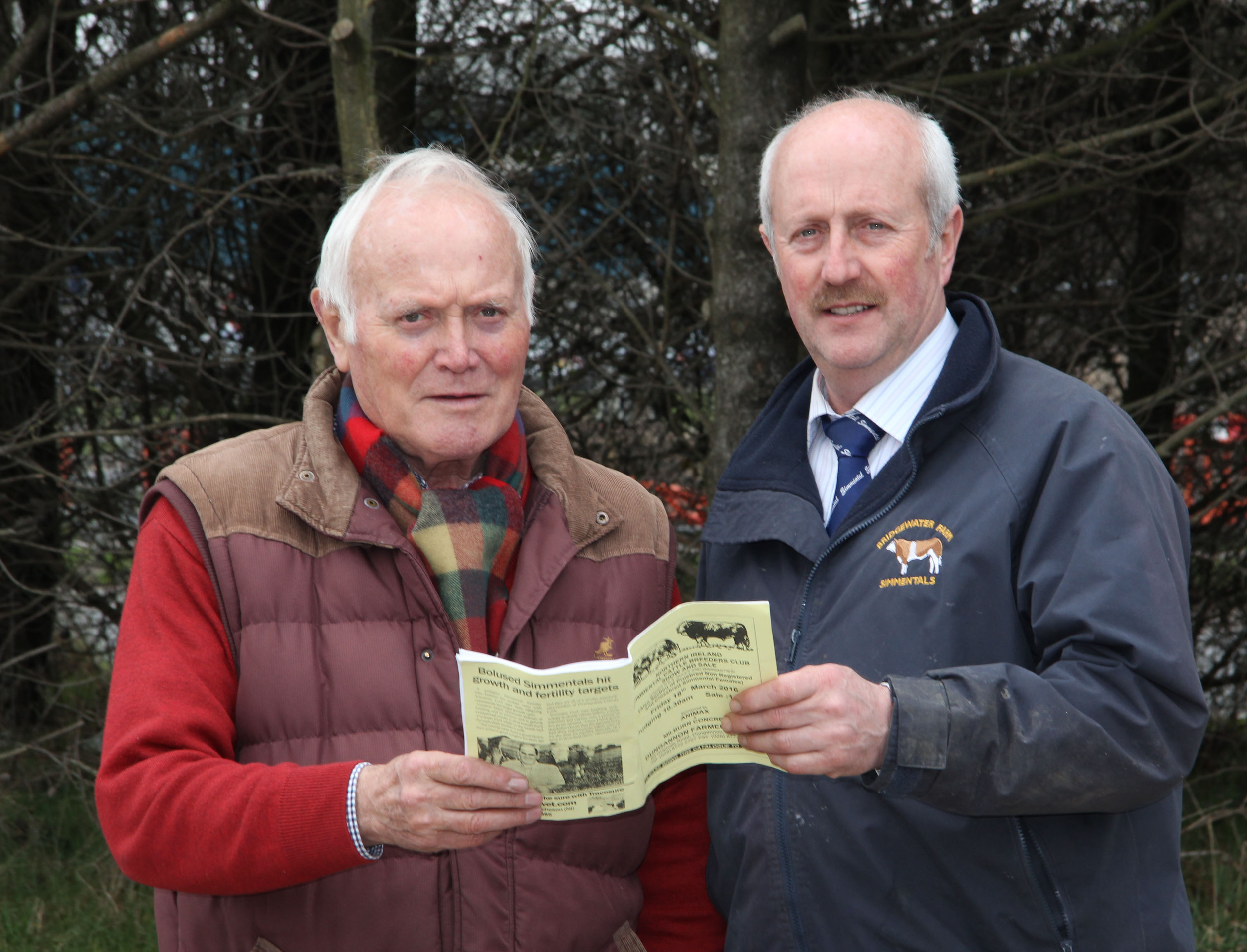 Simmental Club committee member Nigel Glasgow is pictured with Malcolm Thom, Millburn Concrete, sponsor of the commercial section of the spring show and sale, Dungannon.