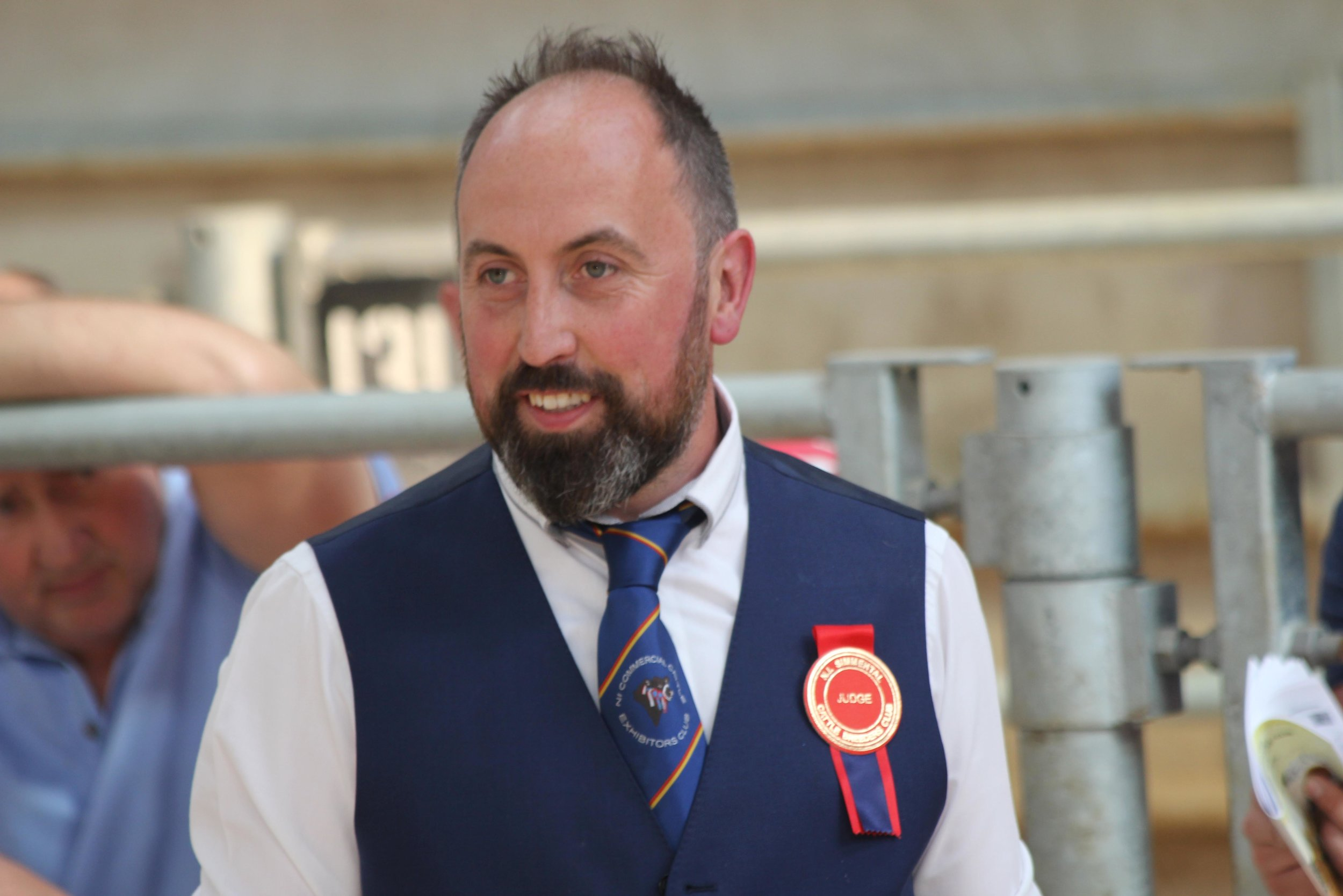 James Alexander from Randalstown judged the NI Simmental Club's evening show and sale in Ballymena Mart.