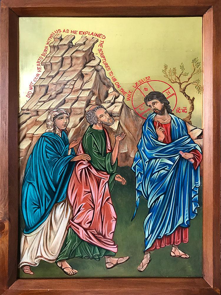 Emmaus Tryptic, left panel