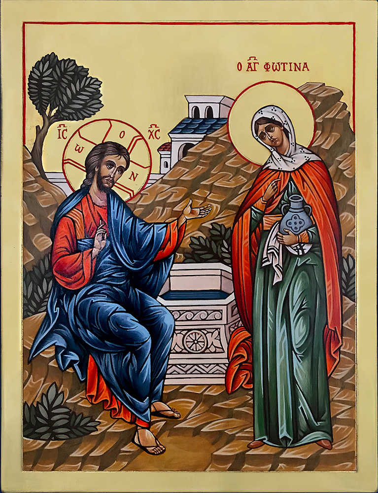 Icon of Christ with  the Samaritan Woman 34 x 45 cm NZD$2,300.00   Enquire