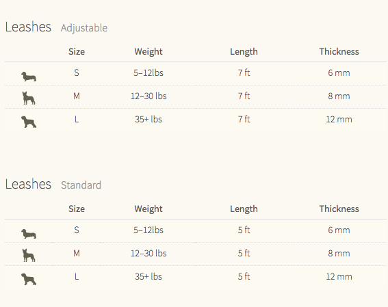 Leash Size Chart