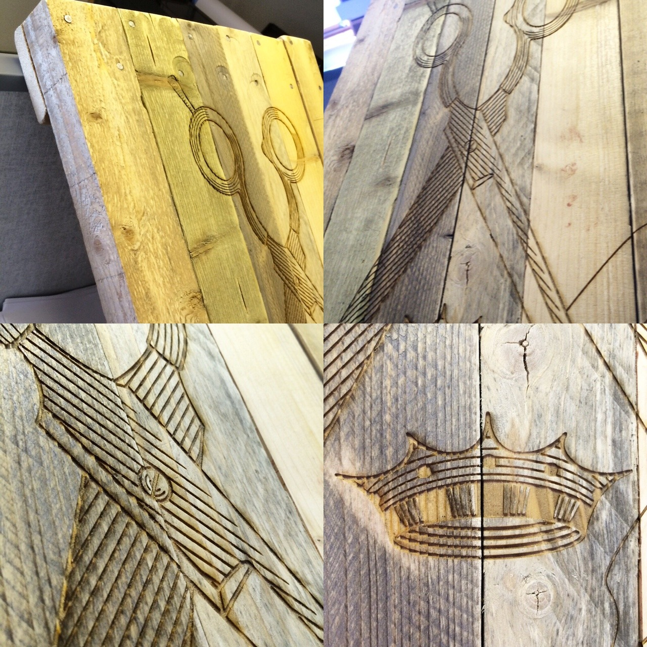 design etched onto base of reclaimed wood - salon king. Uppsala sweden.