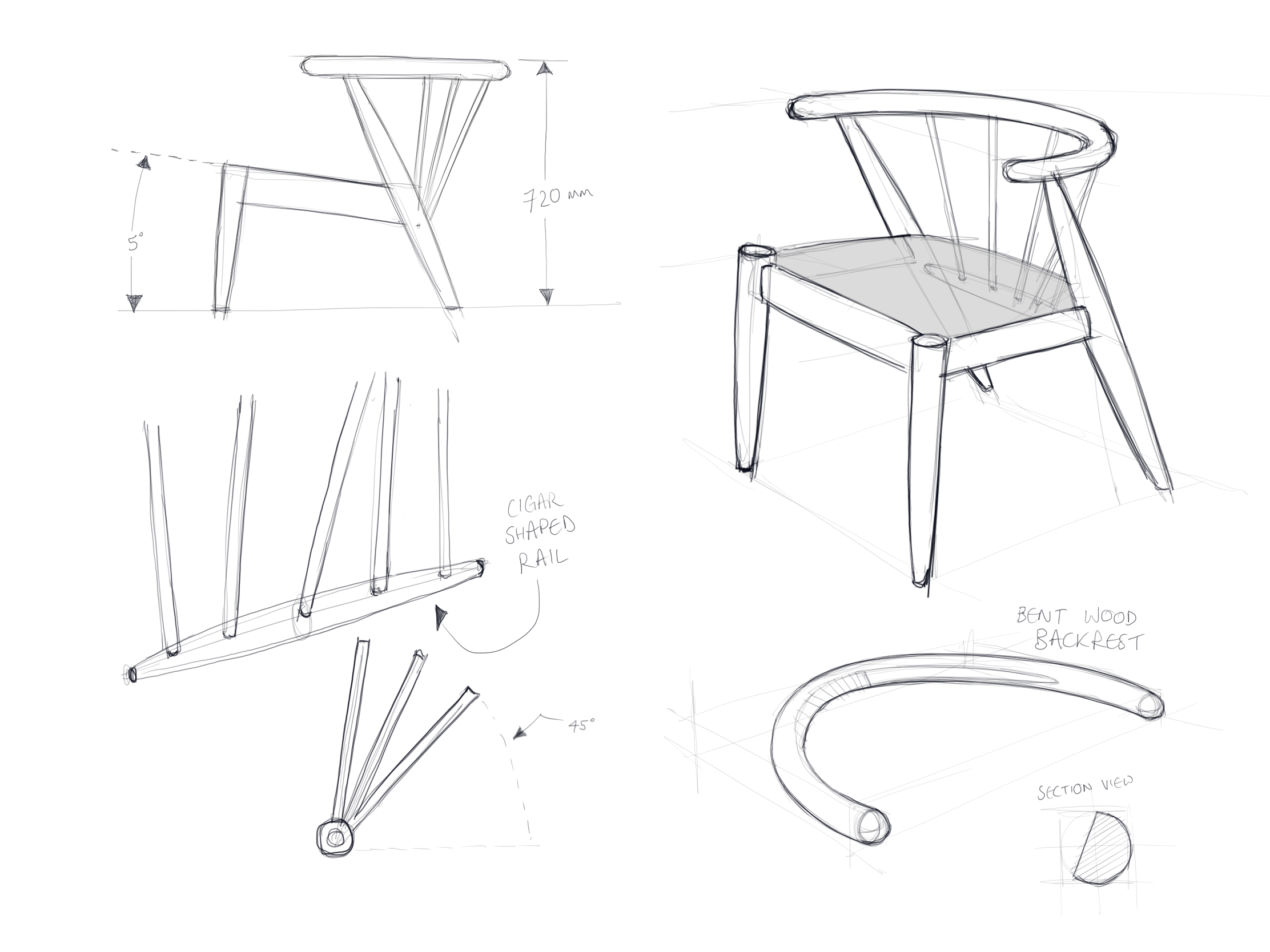 Sketch work for a mid-century dining chair