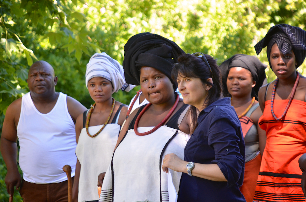 Directing Xhosa women in a reconstruction scene for Troopship Tragedy in 2015