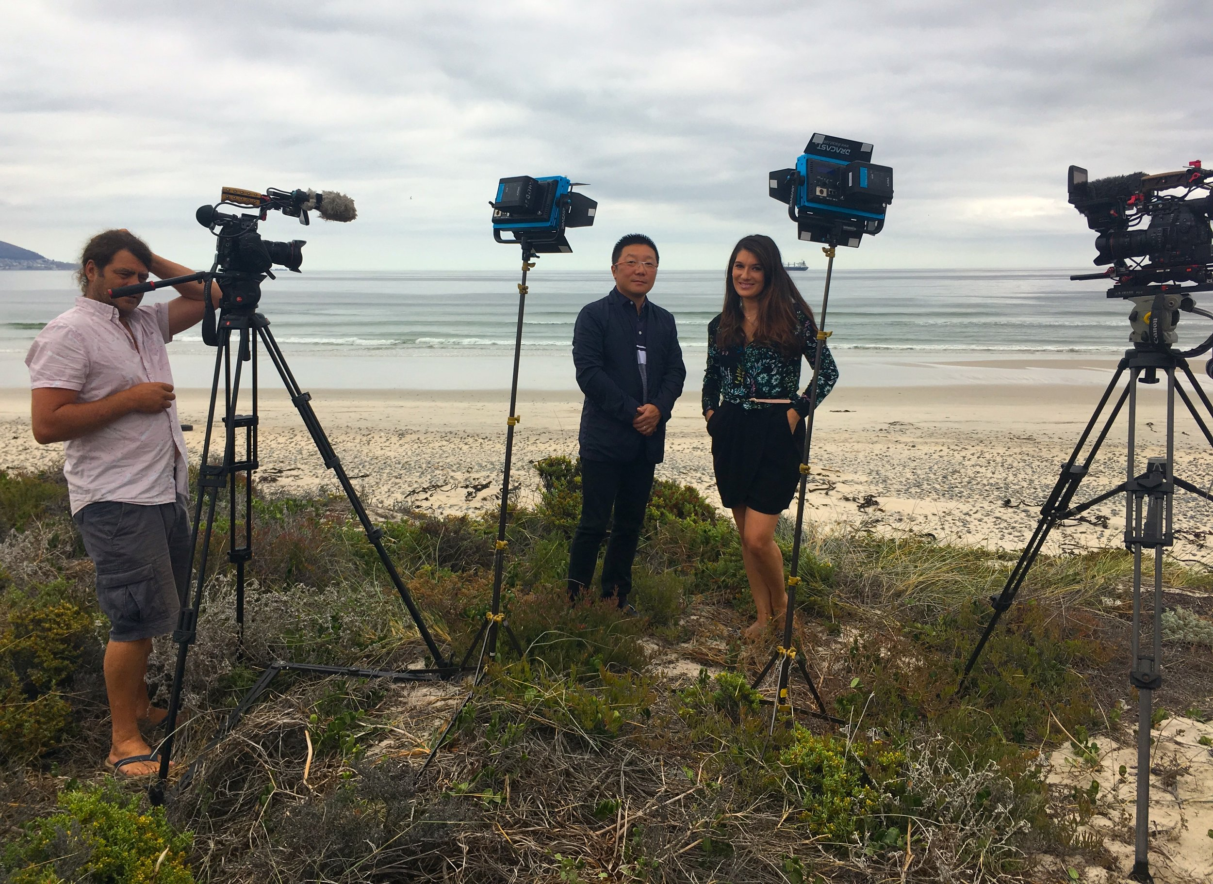 Filming the founder and Managing Director of China International Travel Agency of South Africa, Jacky Liu, with CNN Africa Business Correspondent Eleni Giokos at Sunset Beach in Blouberg for CNN Business Traveller. The subject this time was how Africa was engaging with the Chinese travel market. It was broadcast in March 2019.