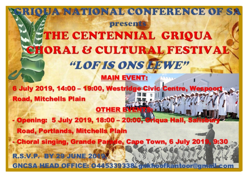 The Griqua Church to celebrate its long-standing traditions in July.  Griqua culture has embraced aspects of colonialism which its church reflects. The plant in the left-hand corner of the pamphlet is the Kenniedood succulent plant, meaning the Plant that Shall Not Die. It was chosen as an emblem for the Griqua people to represent resilience in the face of adversity.