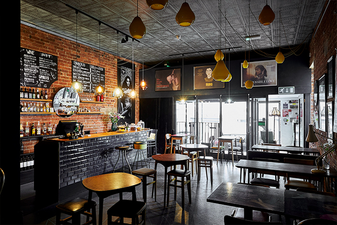 The ground floor of the building is home to The Northern Light Cinema, which is Esther & Paul's other business. Featured here are     Acid Drops in Canary Yellow         hanging from the ceiling, and     Classic Bowls         over the bar area. Photography: Dan Duchars