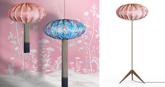 As well as encountering an     Ume     in the Design Encounter, you can find two new vibrant silk printed designs to add to our Ume collection, that brings the number of prints available on this design up to nine. We will also be bringing along a new     Ume Tripod floor lamp    .