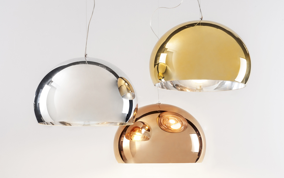 3/4 The new gold Fly pendant designed by Ferruccio Laviani for the Precious Kartell collection launched at this year's Milan Furniture Fair.