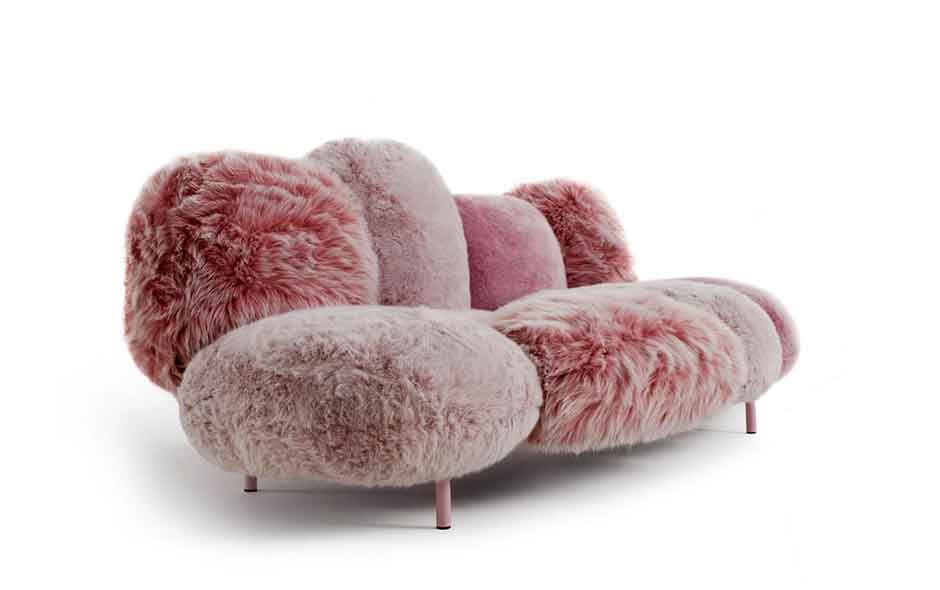 20/20 The iconic Cipria designed by Fernando and Humberto Campana has special Gellyfoam® cushions covered in a selection of wild, eco furs.