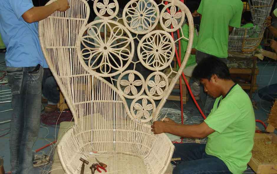11/12 Crinoline by Patricia Urquiola is created using traditional weaving techniques from the Philippines.