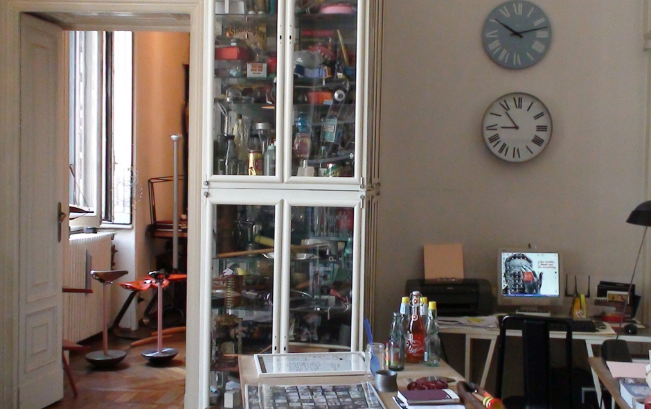 4/7 Achille Castiglioni's famous cabinet of artifacts is filled with everything from sunglasses to toys.