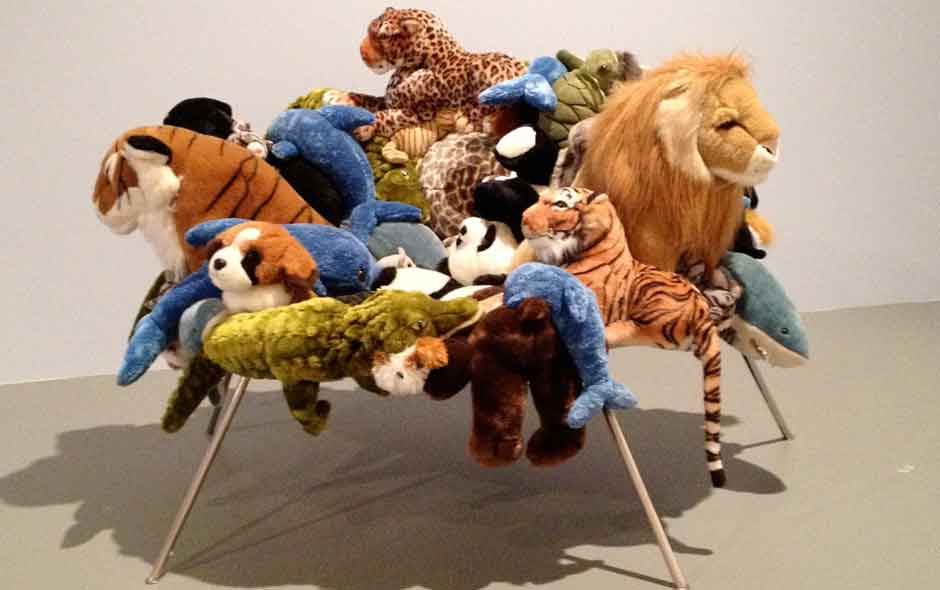 4/4 The Banquette sofa transforms assorted soft toys into a work of art.