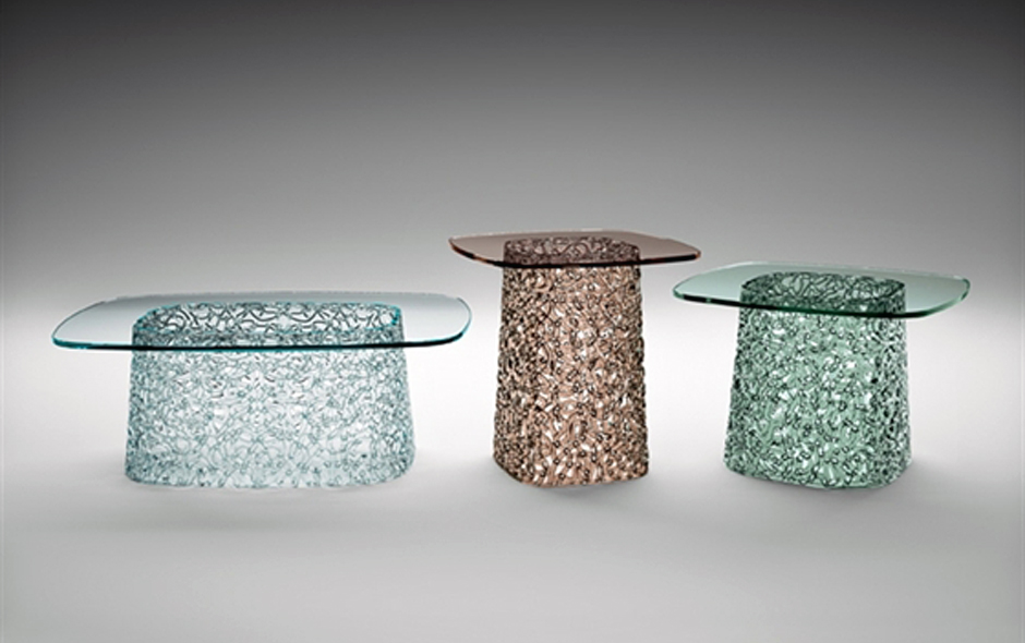 2/3 Macramé tables by Lucid Pevere for Fiam Italia.