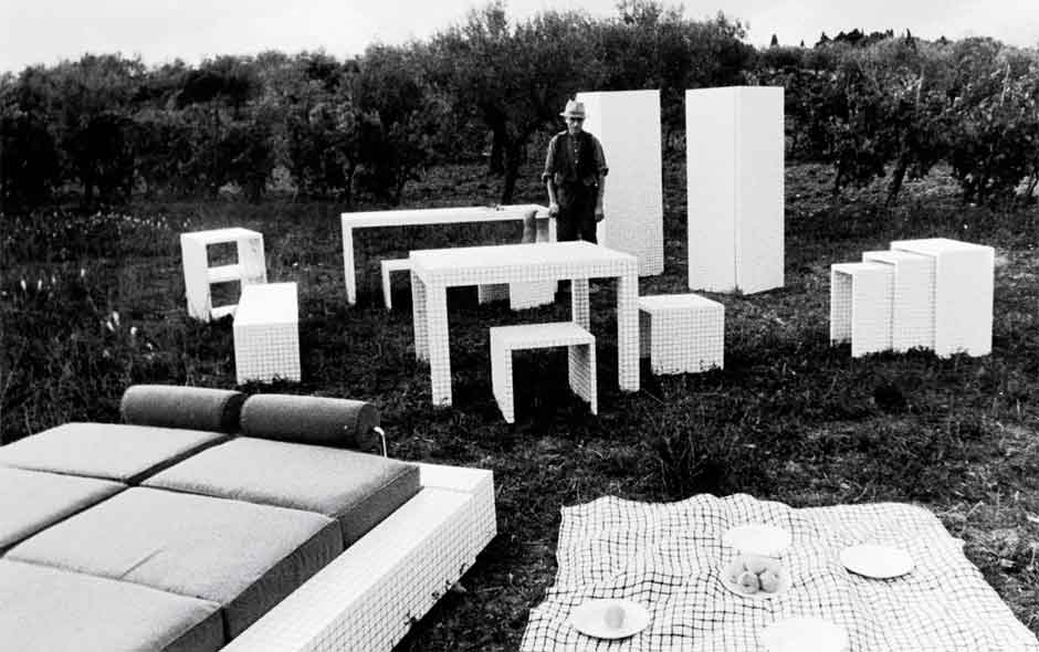 1/3 The Quaderna collection designed by Superstudio in 1971 was central to the show 'Italy: The New Domestic Landscape' held at MoMA in 1972.