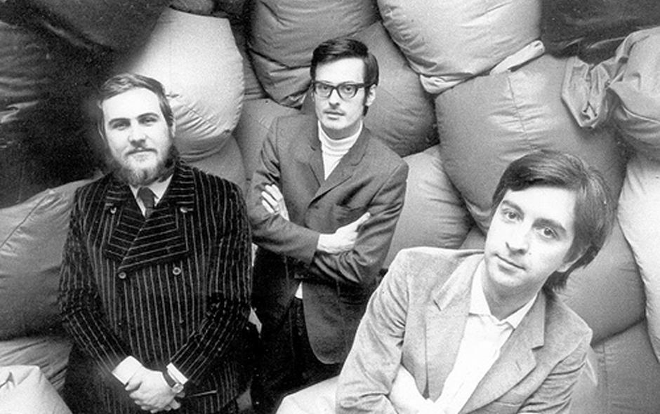 Portrait of architects Paolo Lomazzi, Donato D'Urbino and Jonathan De Pas who designed the Sacco in 1968. © Zanotta Spa