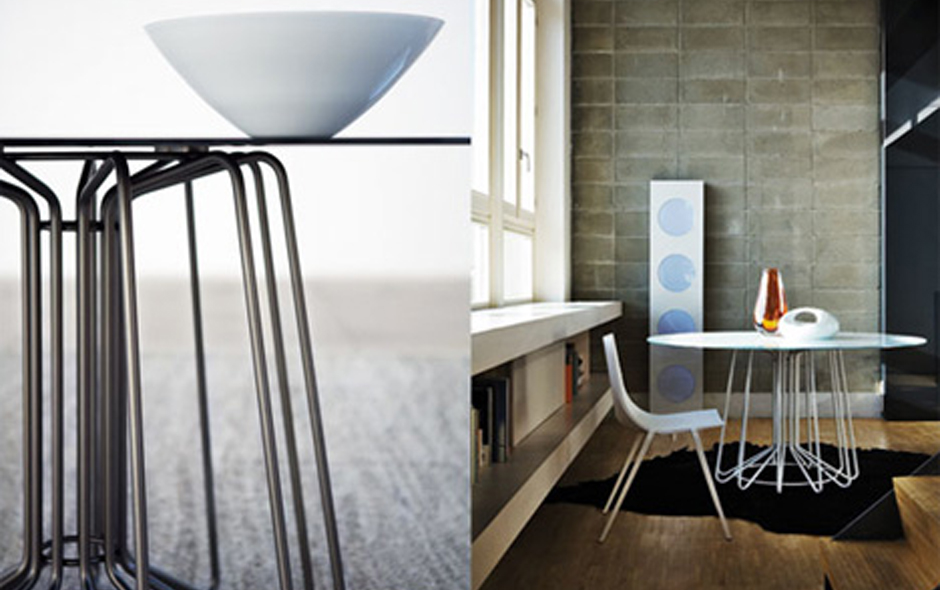 4/5 Wire series of tables for Zanotta by Arik Levy.