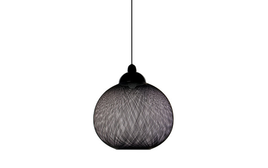 1/3 The Non Random light is made from glass fibres spun into a tight geometric 'weave' around an inflatable mould.