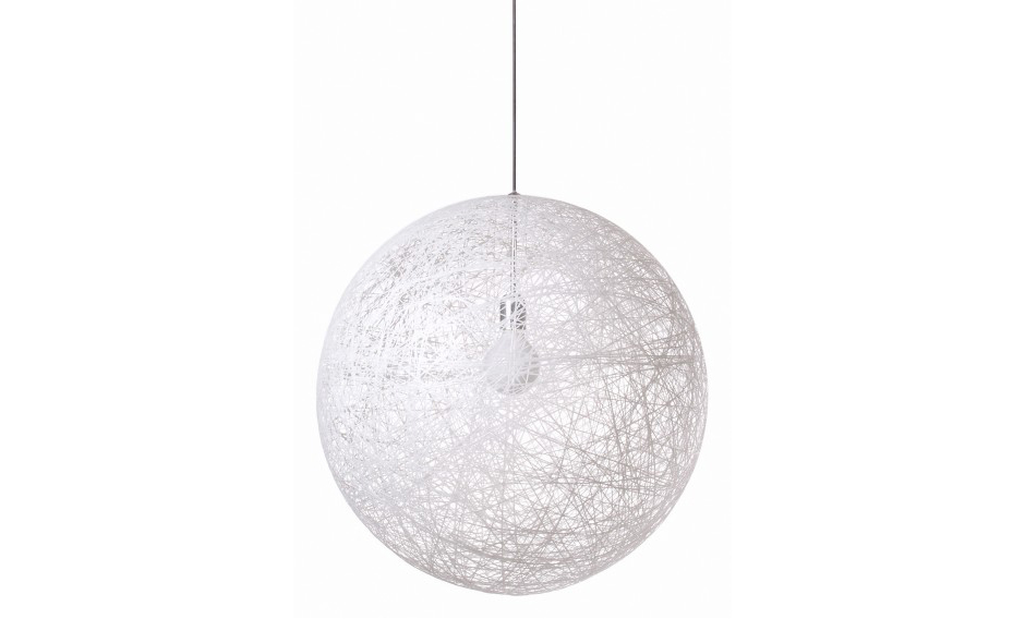 2/3 Designed in 2002, the Random light started out as an experiment of coiling glass fibres in straight lines around a big balloon.