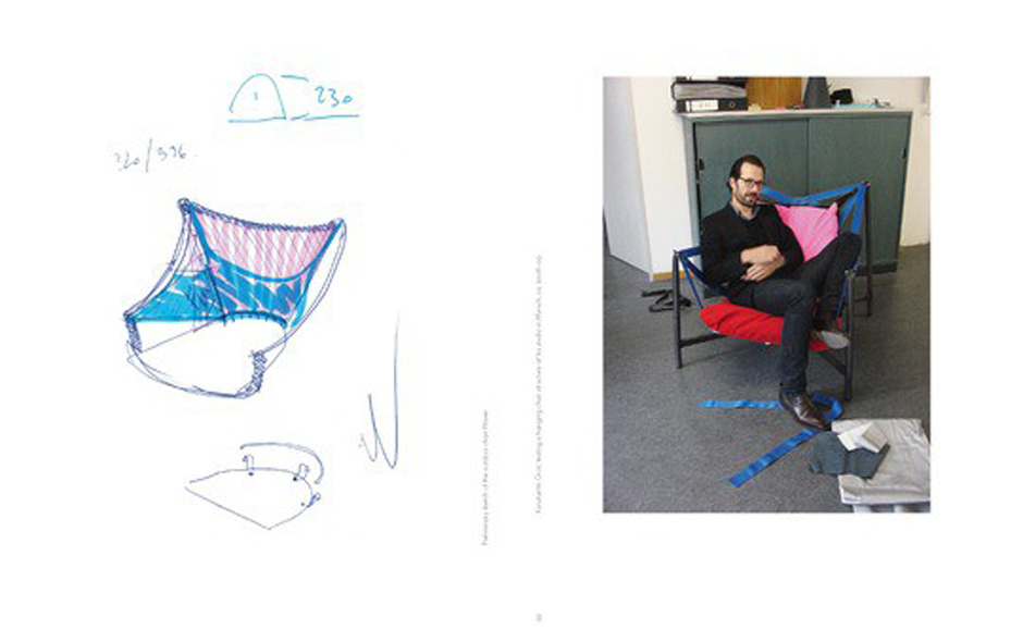 6/6 Konstantin Grcic with an early sketch and prototype of the Waver chair released by Vitra in 2011.