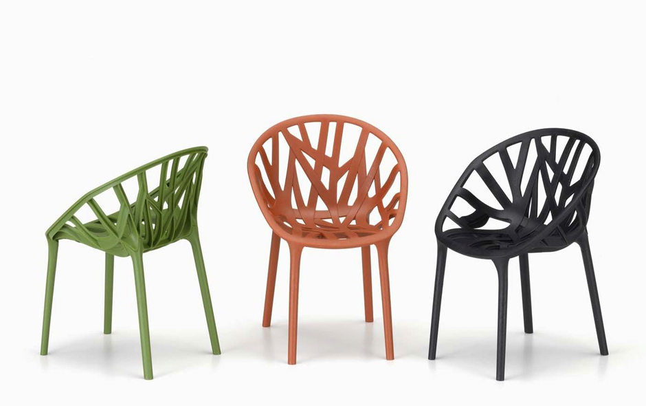 2/6 Vegetal for Vitra is a continuation of the Bouroullec's botanical studies, this time the result is a series of light, stackable chairs for inside or out.