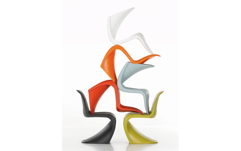 1/3 Verner Panton's most internationally recognised design, the Panton chair by Swiss manufacturer Vitra.