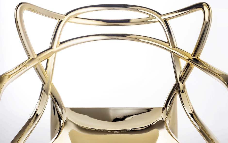 6/6 Masters chair in its new golden finish by Philippe Starck for Kartell.