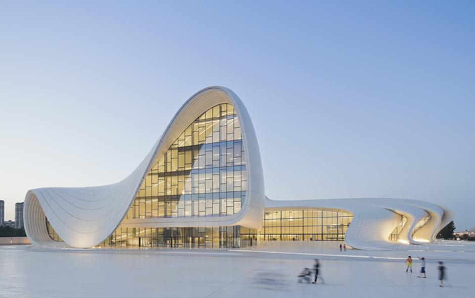 1/3 Architecture nominee, Heydar Aliyev Centre in Azerbaijan by Zaha Hadid and Patrik Schumacher. Photography copyright Iwan Baan.