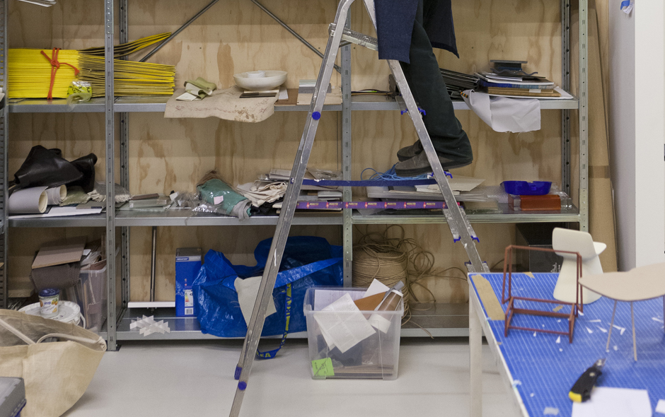 Years of models and samples are stored in the workshop, each kept as reference for new projects.