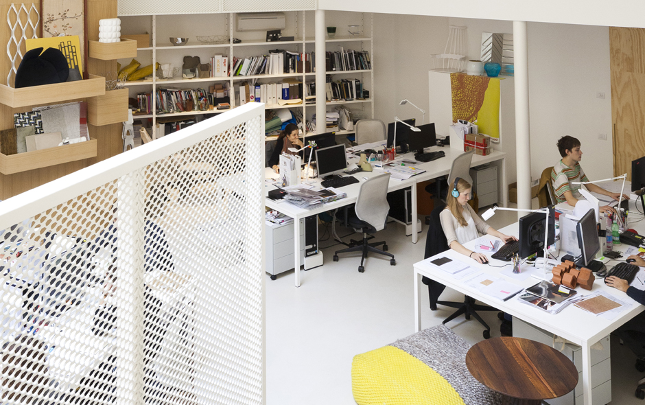 View from the mezzanine into the design studio below.