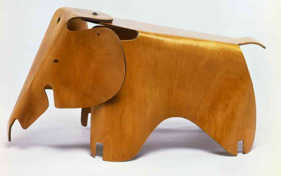 1/3 Elephant stool, 1945, by Charles and Ray Eames made using molded ply technology developed for splints for the US army. © The Eames Foundation.
