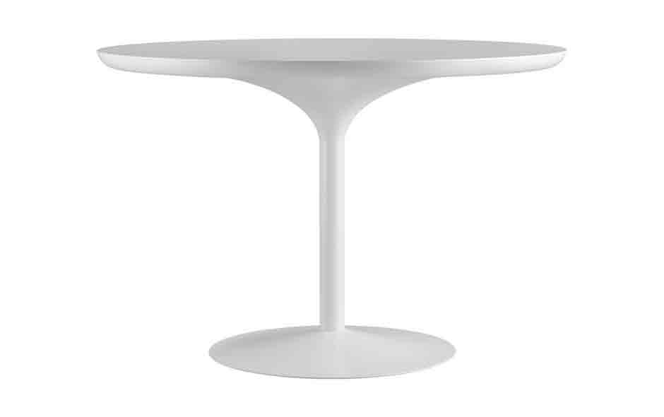 7/7 Designed in 1970, the Verner Panton dining table has a trumpet base made of hand spun aluminium, a spun steel base and laser cut table top with laminate surface.