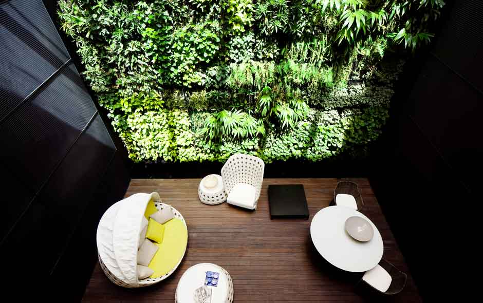 4/4 The courtyard in the shophouse building features the B&B Italia outdoor collection against a verdant landscaped wall.