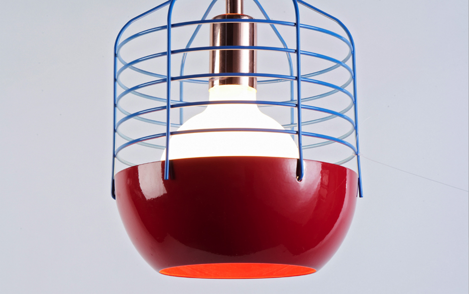 1/4 The Bluff City wire-frame light's colourful take on an industrial lamp.
