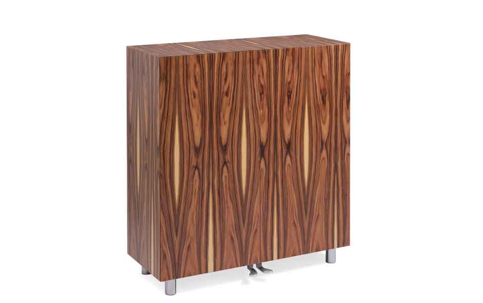 18/19 Edra's Art Director Massimo Morozzi presented the Bois de Rose 'containers' exquisitely detailed in Rosewood.