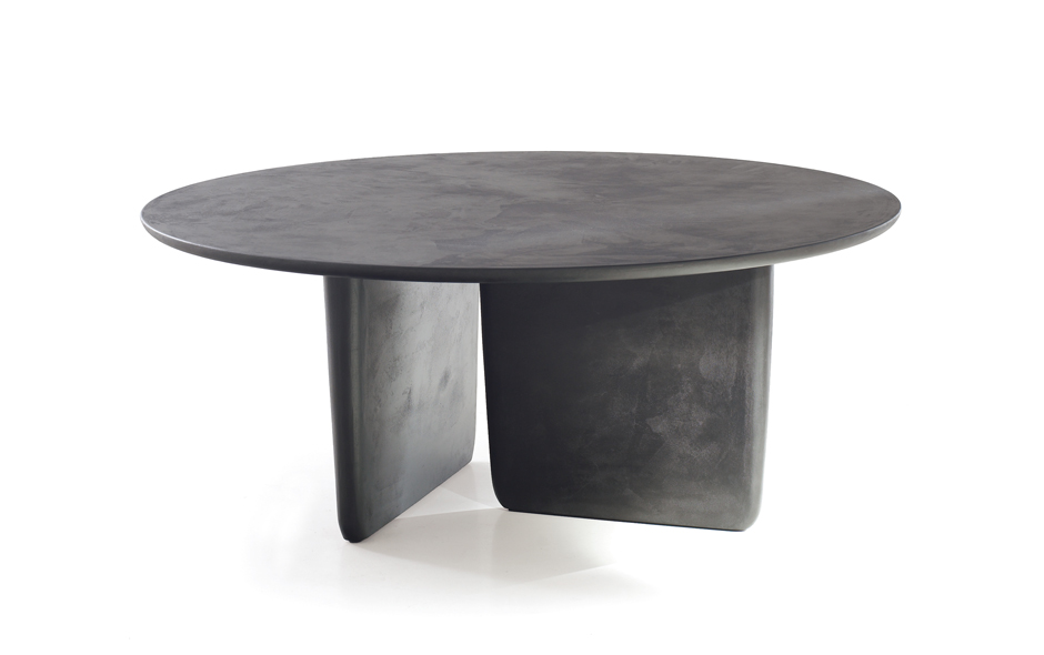 13/19 Tobi-Ishi by Barber Osgerby for B&B Italia has a cement finish and an asymmetrical double base that appears to be sculpted from one block.