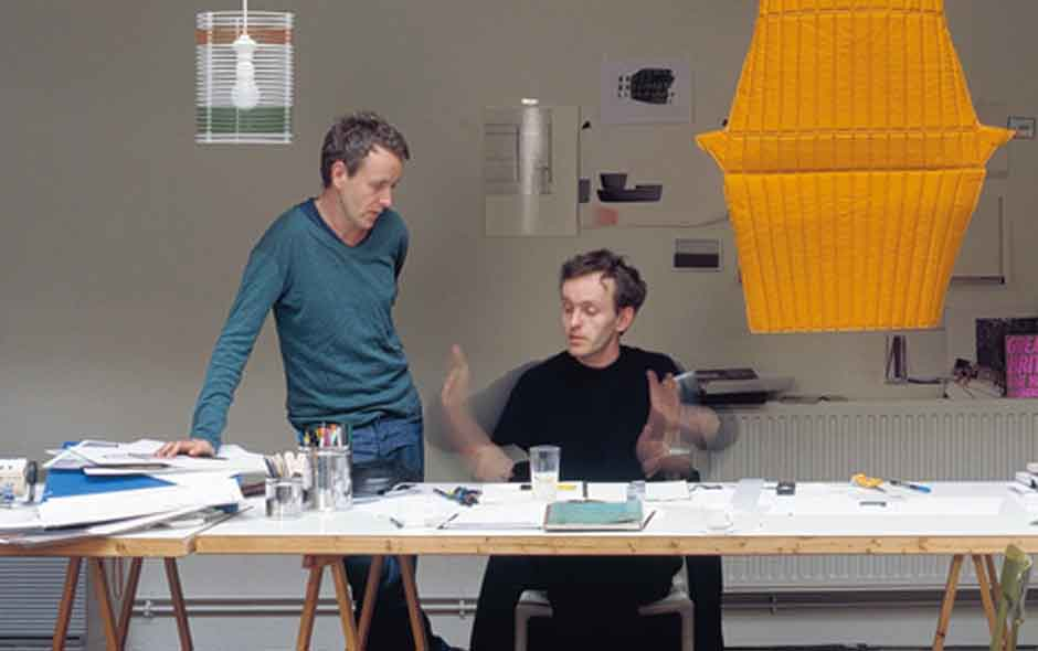1/4 Portrait of French designer brothers Ronan and Erwan Bouroullec.