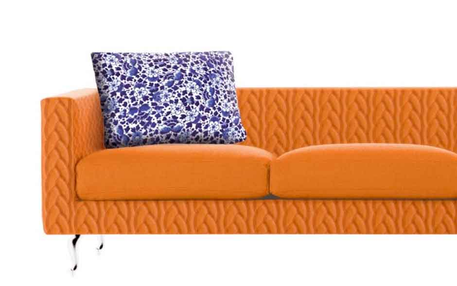 7/8 The Delft Jumper collection in Blue and Grey is 'knitted' from Kvadrat Divina fabric for the Boutique sofa.